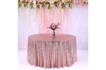 (340cm , Rose Gold) - BalsaCircle TRLYC 340cm Round Wedding Sequin Tablecloth for Wedding Happy New Year 1.8m Table Cloth-Rose Gold