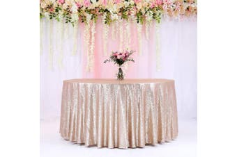 (340cm , Champagne) - BalsaCircle TRLYC 340cm Round Wedding Sequin Tablecloth for Wedding Happy New Year 1.8m Table Cloth-Champagne