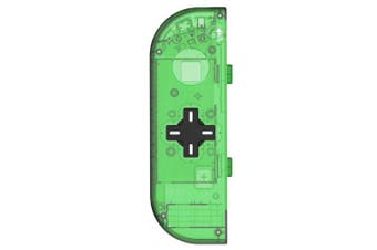 (Left-Jungle Green) - BASSTOP Translucent NS Joycon Handheld Controller Housing with D-Pad Button DIY Replacement Shell Case for Nintendo Switch Joy-Con(Left Only) Without Electronics (Left-Jungle Green)