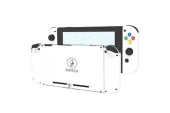 (Set-White) - BASSTOP DIY Replacement Housing Shell Case Set for Switch NS NX Console and Right Left Switch Joy-Con Controller without Electronics (White set)