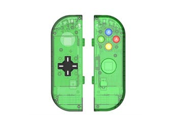 (Joycon D-Pad-Jungle Green) - BASSTOP Translucent NS Joycon Handheld Controller Housing with D-Pad Button DIY Replacement Shell Case for Nintendo Switch Joy-Con (L/R) Without Electronics (Joycon D-Pad-Jungle Green)
