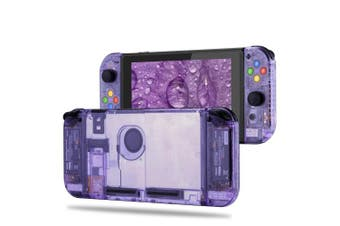 (Set-Atomic Purple) - BASSTOP [Update Version] DIY Replacement Housing Shell Case Set for Switch NS NX Console and Right Left Switch Joy-Con Controller without Electronics(Set-Atomic Purple)