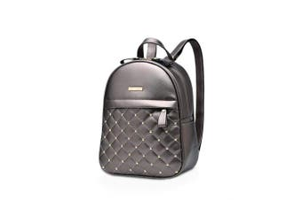 (Silver Grey) - NICOLE & DORIS Womens Backpack Fashion Rucksack Ladies Shoulder Bag with Rivet Lightweight Lattice Casual Daypack PU Leather
