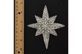 (Crystal / Silver (2-pcs)) - 2-pcs Star Rhinestone Beaded Applique, Beaded Patch, 10cm x 10cm - 1.9cm , TR-12145 (Crystal/Silver)