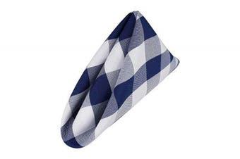 (White-navy) - AGN Elegant Linen Chequered Polyester Napkins Set of 12 (18x18) (White-Navy)