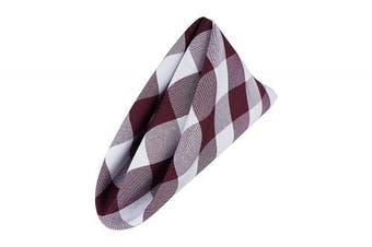 (White-burgundy) - AGN Elegant Linen Chequered Polyester Napkins Set of 12 (18x18) (White-Burgundy)