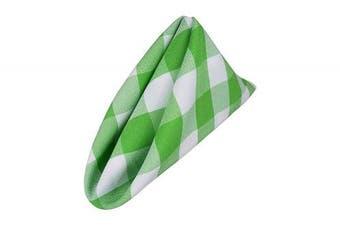 (White-lime Green) - AGN Elegant Linen Chequered Polyester Napkins Set of 12 (18x18) (White-Lime Green)