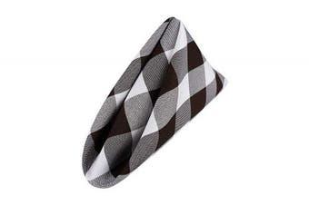 (White-brown) - AGN Elegant Linen Chequered Polyester Napkins Set of 12 (18x18) (White-Brown)