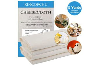 Cheesecloth for Straining Cooking Grade 90 4.2sqm(5 Yards) Food Filter 100% Unbleached Cotton Fabric Fine Mesh Cheesecloth Nut Milk Bags Food Strainer Hallowmas Decorations