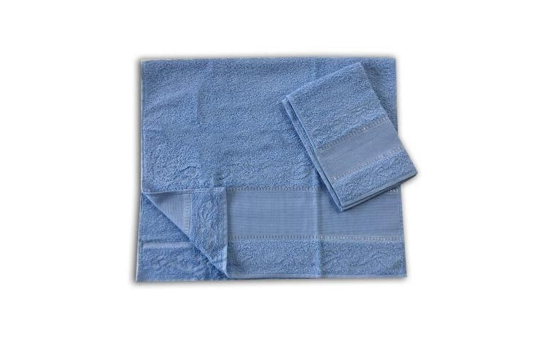 (Azzurro5) - Panini Fabrics Set/Pair of Large and Small Hand Towels. 9cm Aida for Embroidery 100% Cotton Made in Italy Azzurro5