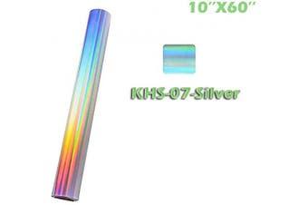(25cm ×1.5m, S/Silver) - Holographic Vinyl Silver Heat Transfer Vinyl HTV (25cm ×1.5m, S/Silver)
