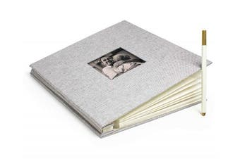 Bastex Large DIY Photo Picture Album. Grey Hard Cover Fabric Frame with Self-Adhesive Magnetic Pages to Make The Perfect Scrapbook or Adventure Book, Family Albums. 8x10 Pages