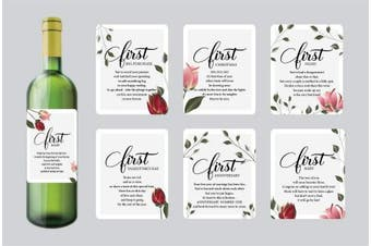 7 Wedding Milestone Wine Bottle Labels, Gifts for Bridal Shower, Wedding Gifts for Couple