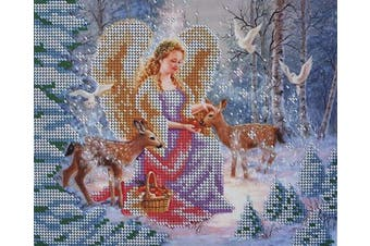Christmas Angel Bead Embroidery kit Xmas Needlepoint Handcraft Tapestry Kits Beaded Cross Stitch Winter Forest Girl with Animals Wall Decor