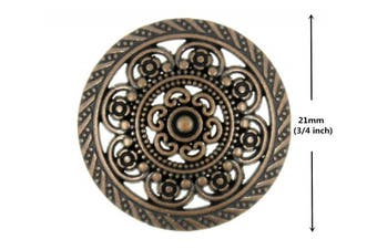 Bezelry 12 Pieces Lacework Filigree Antique Copper Metal Shank Buttons. 21mm (3/4 inch)