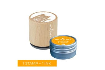 Woodies Cat Stamp with Outback Orange Ink Pad Set/Cat Wooden Rubber Stamp and Ink Pad Set for DIY Crafts and Card Making