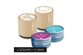 Set of 2 Stamps/2Inks: Woodies 100% Handmade Stamp, Heart Stamp and 2 Ink Pads/Handmade Wooden Rubber Stamp and Ink Pad for DIY Crafts and Home Businesses