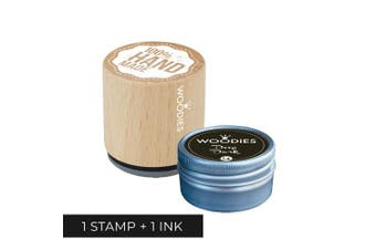 Woodies 100% Handmade Stamp with Deep Dark Ink Pad Set/Handmade Wooden Rubber Stamp and Ink Pad for DIY Crafts and Home Businesses