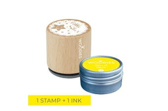 Woodies Little Star Stamp with Sweet Sun Ink Pad Set/Gender Neutral New Baby Wooden Rubber Stamp and Ink Pad Set for DIY Crafts and Card Making
