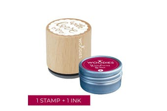 Woodies Love Stamp with Wondrous Wine Ink Pad Set/Love Wooden Rubber Stamp and Ink Pad Set for DIY Crafts and Card Making