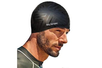 (BLACK) - BALNEAIRE Silicone Swim Cap Men, Waterproof Swimming Caps Black
