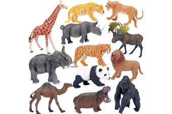 Safari Animals Figures Toys, Realistic Jumbo Wild Zoo Animals Figurines Large Plastic African Jungle Animals Playset with Elephant, Giraffe, Lion, Tiger, Gorilla for Kids Toddlers, 12 Piece Gift Set