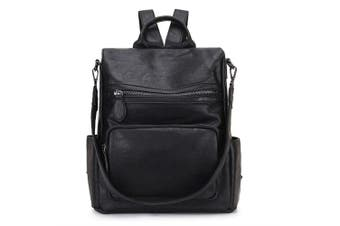 (Black) - Women Backpack Purse,RAVUO Fashion PU Leather Anti-theft Ladies Backpack Convertible Rucksack School Bags Three Ways to Carry