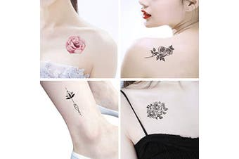 (style 1) - Temporary Tattoos for Women - Rose Feather Animals Written Words Flowers and Butterfly Stickers Waterproofing (style 1)