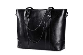 (black) - S-ZONE 40cm Leather Laptop Bag for Women Shoulder Bag Large Work Tote with Padded Compartment
