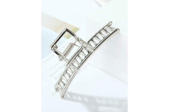 (Platinum) - ACCGLORY Hollow Vintage Metal Hair Clips Hairgrip Strong Jaw Clips Clamps Non-Slip Hair Barrette For Women Thick Hair (Platinum)