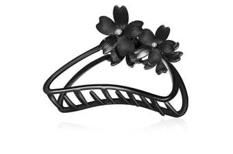 (Flower-Black) - ACCGLORY Metal Hair Clips with Flowers Hairgrip for Strong Clips Clamps Non-Slip For Women Thick Hair (Flower-Black)