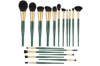 (Malachite Green) - BESTOPE 18 PCs Makeup Brushes, Belly-type Handle Professional Premium Synthetic Cosmetic Brushes for Blending Foundation Powder Blush Concealers Highlighter Eye Shadows Brushes Kit