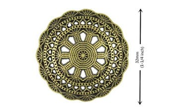 Bezelry 8 Pieces Mediaeval Filigree Antique Brass Colour Metal Shank Buttons. 32mm (1-1/4 inch).