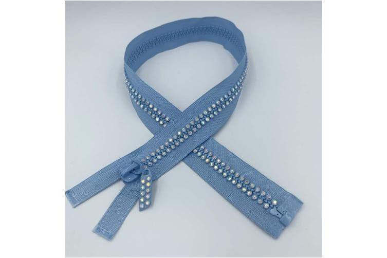 "(Light Blue) - WKXFJJWZC 2pcs 24"" 60cm Light Blue Dual-Strand Czech Crystal Zippers AB Crystal Rhinestone Separating 10# Zippers Base Dress Colthes Sewing (Light Blue)"