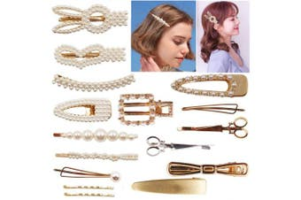 (16pcs-faux pearls) - 16PCS Faux Pearls Hair Clips Hairpins Sparkly Rhinestones Hair Barrettes Gold Bobby Pins Fashion Hair Accessories for Girls Women Lady