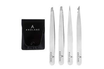 Andlane Tweezers Set - Professional Stainless Steel 4-Piece Precision Tweezer for Men & Women - Great for Facial Hair Removal, Eyebrow Shaping, Splinters & Ingrown