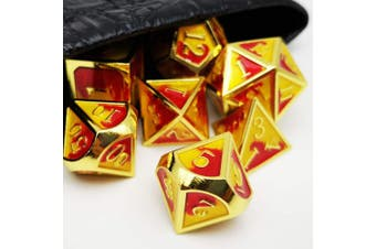 (Gold Red Yellow(inferno)) - Haxtec Metal Dice Set D & D Polyhedral DND Dice for Dungeons and Dragons RPG Table Games-DND Dice Gold Red Yellow(Inferno)