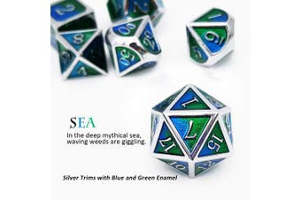 (Silver Blue Green(sea)) - Haxtec Metal Dice Set D & D Polyhedral DND Dice for Dungeons and Dragons RPG Table Games- Enamel DND Dice (Silver Blue Green(Sea))