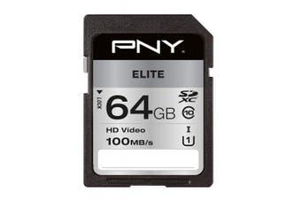 PNY Elite SDXC card 64GB Class 10 UHS-I U1 100MB/s