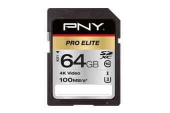 PNY Pro Elite SDXC card 64GB Class 10 UHS-I U3 100MB/s