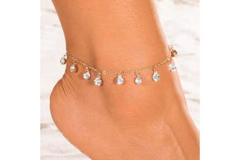 (Silver) - Simsly Beach Tassel Anklet Crystal Gold or Silver Ankle Bracelet Foot Accessories Jewellery for Women and Girls (Silver)