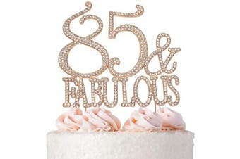 (85&Fab Rose) - Premium Metal 85 and Fabulous Rhinestone Gem Cake Topper. Perfect 85th Birthday Party Keepsake and Decoration. Sparkling, Crystal and Diamond Style Bling Makes a Great Centrepiece. (85 & Fab Rose Gold)