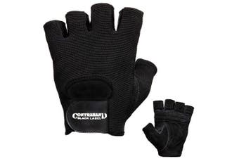 (XX-Large, Black) - Contraband Black Label 5450 Heavy Duty Double Layer Gel Padded Leather Weight Lifting Gloves (Pair) - Heavy Padded Gym Gloves - Durable Split Leather Palm with Nylon 4Way Mesh Top