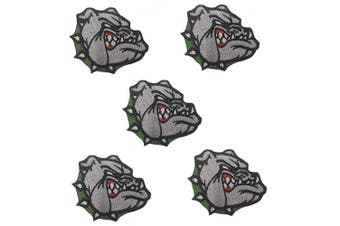(Small, Bulldog green) - 5 pcs Bulldog Patch Iron on sew on Applique (Green Collar)