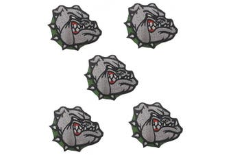 (Medium, Bulldog green m) - 5 pcs Bulldog Patch Iron on Patches Appliques sew on Clothes