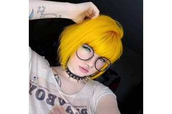 (Yellow Bob Wig - 11'') - COSYCODE 28cm Yellow Short Bob Wig with Bangs Synthetic Cosplay Wigs for Halloween Party