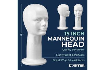 38cm Styrofoam Wig Head - Tall Female Foam Mannequin Wig Stand and Holder - Style, Model And Display Hair, Hats and Hairpieces - For Home, Salon and Travel - by Cantor