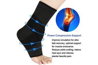 (Small, Gray & Black) - Beister 1 Pair Ankle Brace Compression Support Sleeve for Women and Men, Elastic Sprain Plantar Fasciitis Foot Socks for Injury Recovery, Joint Pain, Achilles Tendon, Heel Spurs