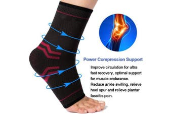 (Medium, Gray & Red) - Beister 1 Pair Ankle Brace Compression Support Sleeve for Women and Men, Elastic Sprain Plantar Fasciitis Foot Socks for Injury Recovery, Joint Pain, Achilles Tendon, Heel Spurs