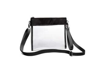 (Black) - Clear Crossbody Purse NFL Stadium Approved Clear Bag with Adjustable Shoulder Strap and Wrist Strap for Work, School, Sports Games, Concerts